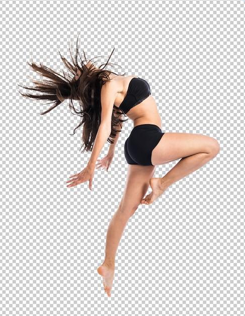 若いフィットネス女性ジャンプ Premium Psd