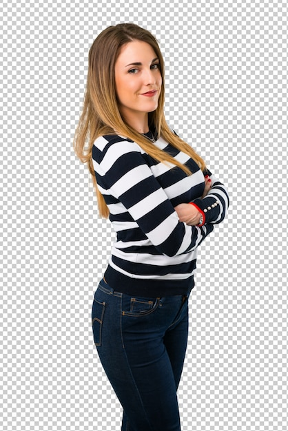 腕を組んで保つ金髪の若い女の子 Premium Psd
