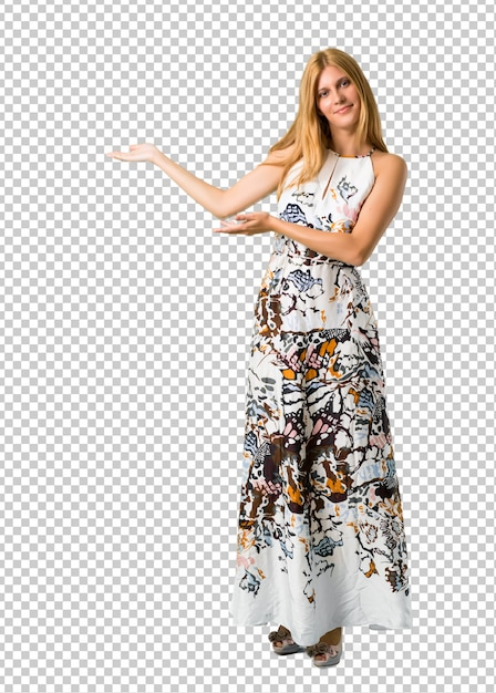 提示し、来て招待夏のドレスで金髪の少女 Premium Psd