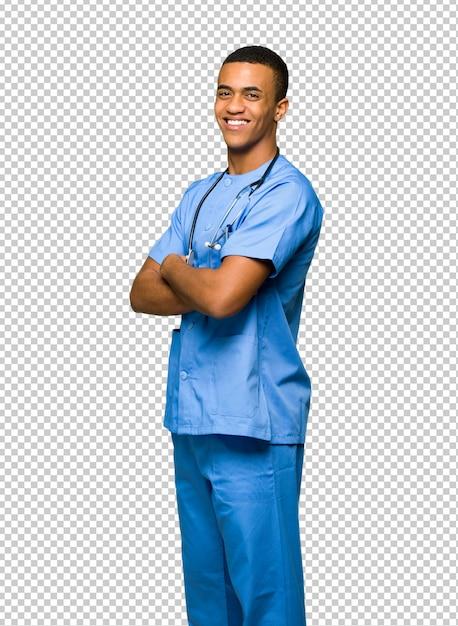 Хирург доктор человек, глядя через плечо с улыбкой Premium Psd