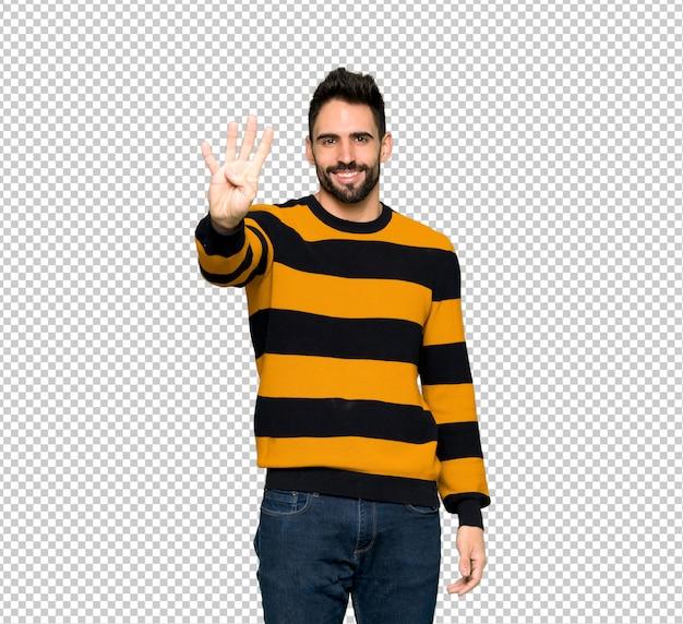 縞模様のセーターとハンサムでハンサムな男 Premium Psd