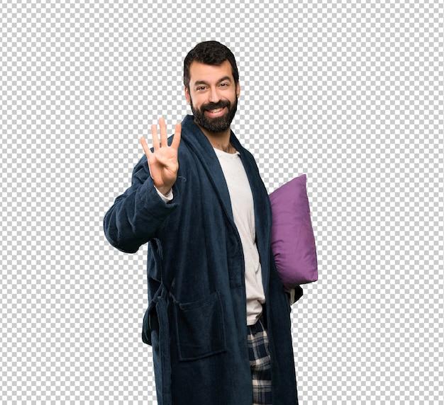 幸せとパジャマ姿でひげを持つ男 Premium Psd