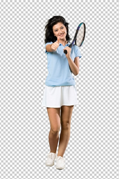 何か良いことが起こったので親指を立てて若いテニス選手の女性の全身ショット Premium Psd