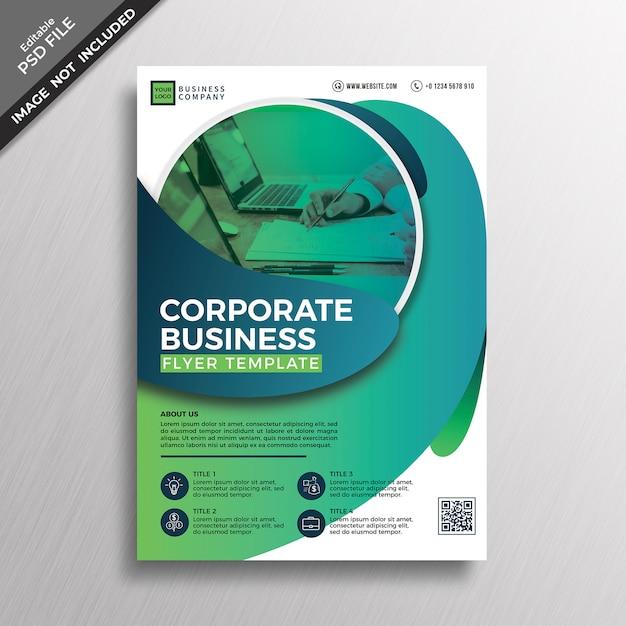 緑色のモダンな抽象的なジオメトリスタイルの企業チラシ Premium Psd