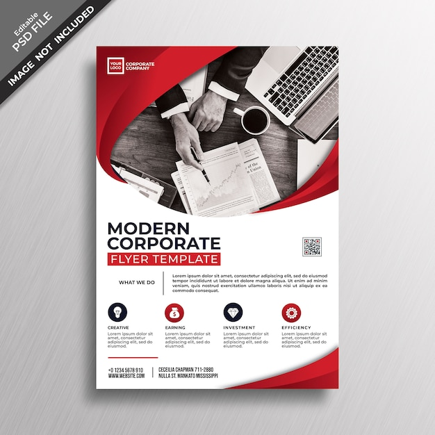 現代的な赤いコーポレートスタイルのチラシのテンプレートデザイン Premium Psd