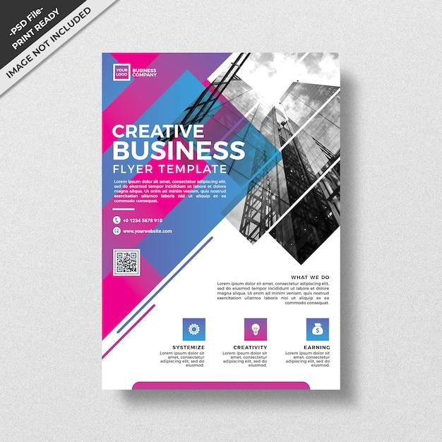 クリエイティブ抽象的な幾何学スタイルのビジネスチラシテンプレート Premium Psd
