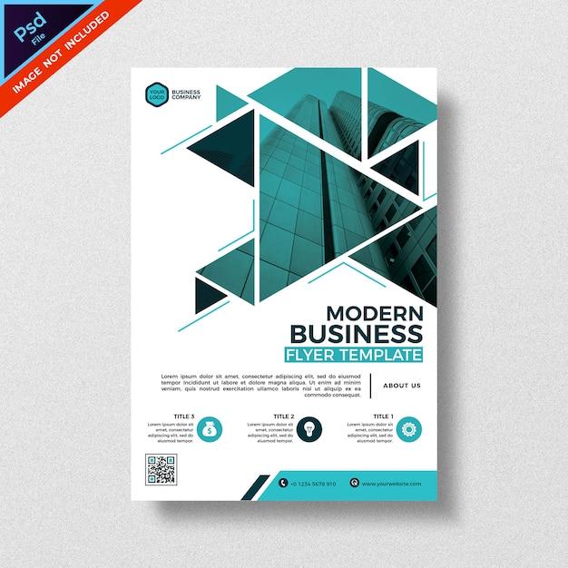 幾何学三角形スタイルの抽象的な現代ビジネスチラシテンプレート Premium Psd