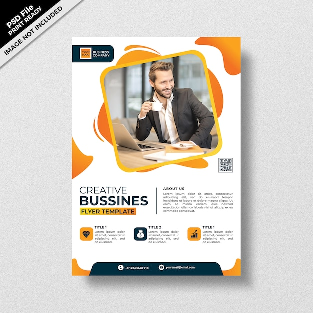 創造的な黄色のビジネスチラシテンプレートスタイル Premium Psd