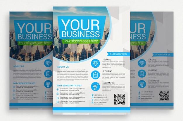 青と白のビジネスパンフレット 無料 Psd