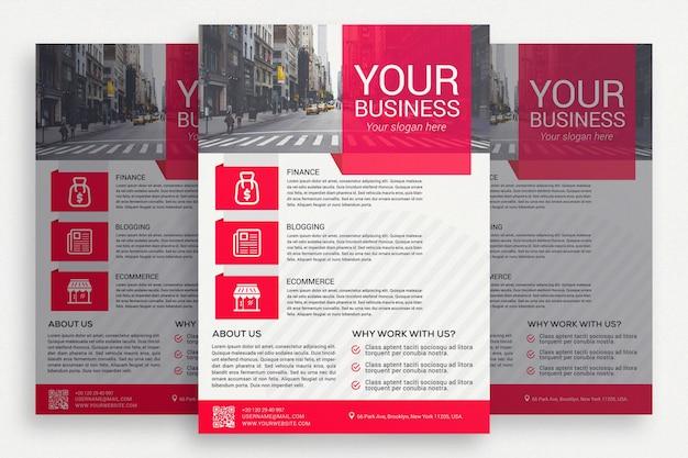 Белая бизнес-брошюра с розовыми деталями Бесплатные Psd