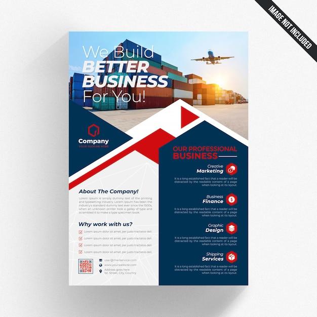 青と白のビジネスチラシ、赤の詳細 Premium Psd