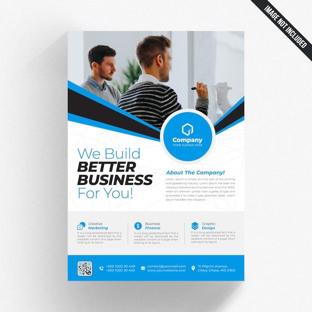ブルーの白いビジネスチラシ Premium Psd