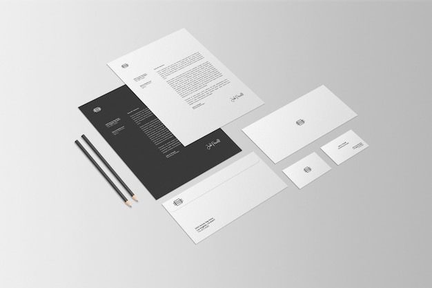 Бизнес стационарный набор макет сцены Premium Psd