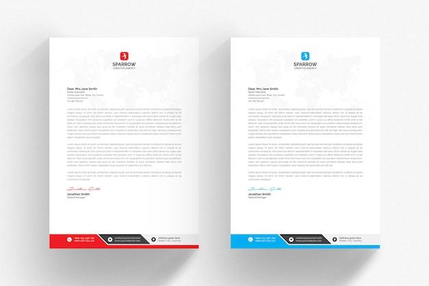 Белый шаблон бланка с синими и красными деталями Premium Psd