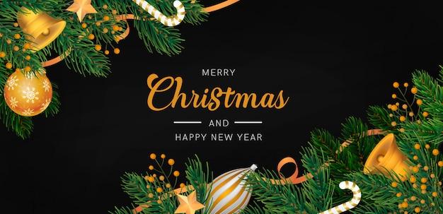 金色の装飾とエレガントなクリスマス背景 無料 Psd