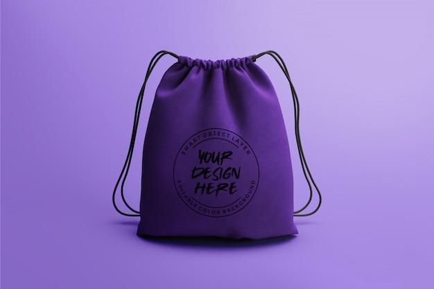Шаблон макета для сумки на шнуровке Premium Psd