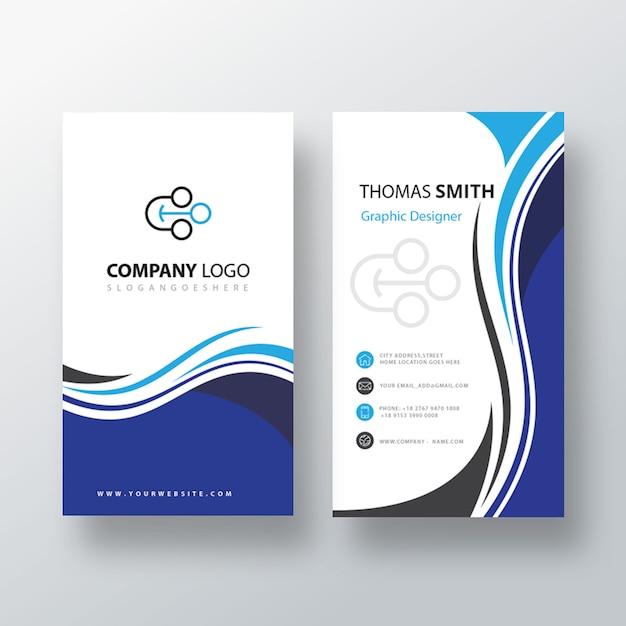 青い渦巻き垂直訪問カード 無料 Psd