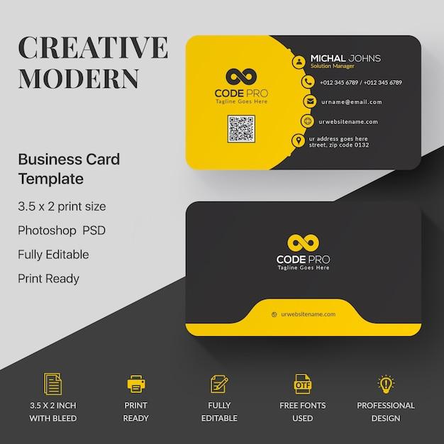 Профессиональный макет визитки Бесплатные Psd
