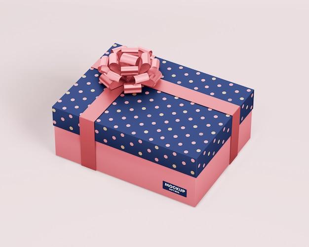 Подарочная коробка макет с лентой Premium Psd