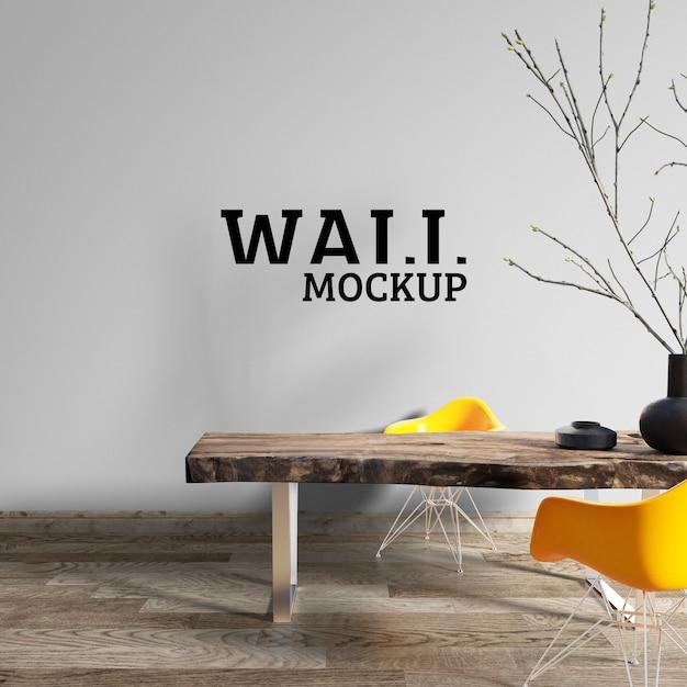 壁のモックアップ-ワークスペースは大まかな木製テーブルで装飾されています Premium Psd
