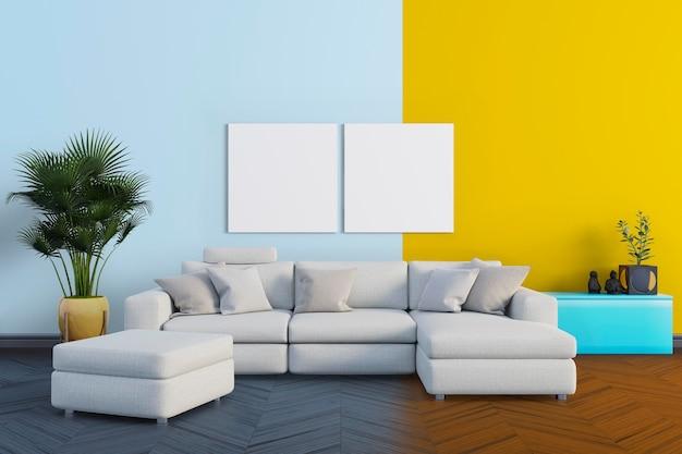 Гостиная с большим диваном Premium Psd