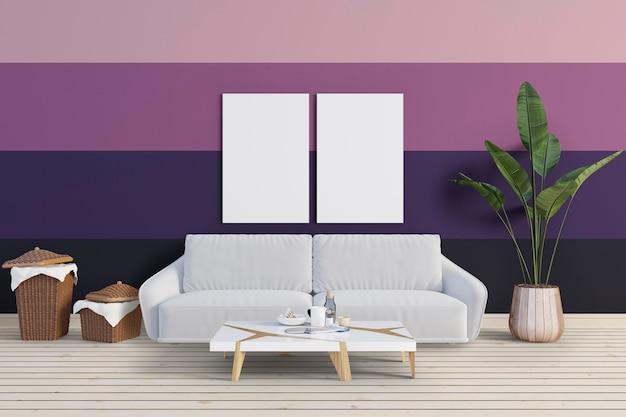 Гостиная с красочной стеной и макетом Premium Psd