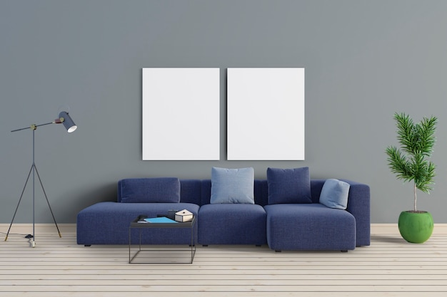 В комнате есть синий диван и макетные рамы Premium Psd
