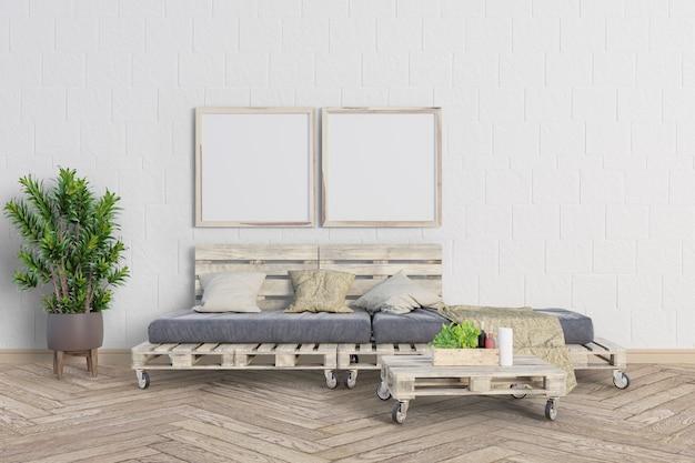 パレット木製ソファとフレーム付きのリビングルーム Premium Psd