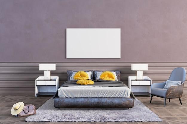 茶色の色調の寝室 Premium Psd