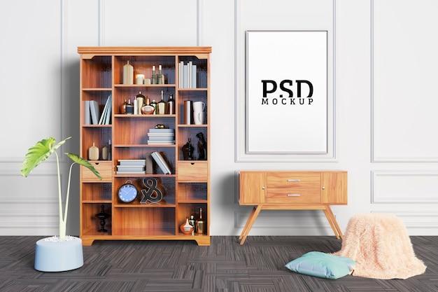 部屋には飾り棚とフレームがあります Premium Psd