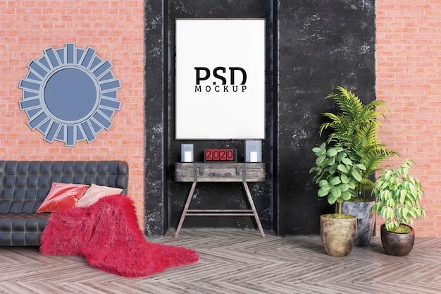 部屋は中央のフレームに重点を置いた産業スタイルです Premium Psd