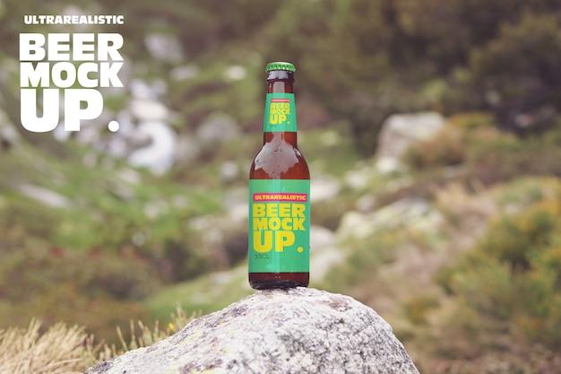 Пиво в каменном макете Premium Psd