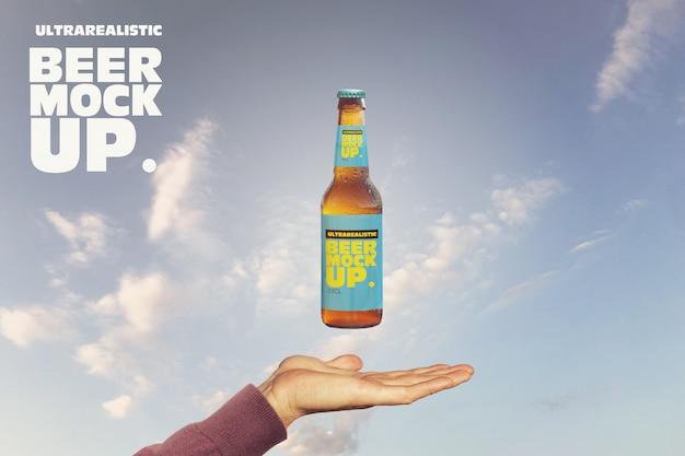 マジックビールモックアップ Premium Psd