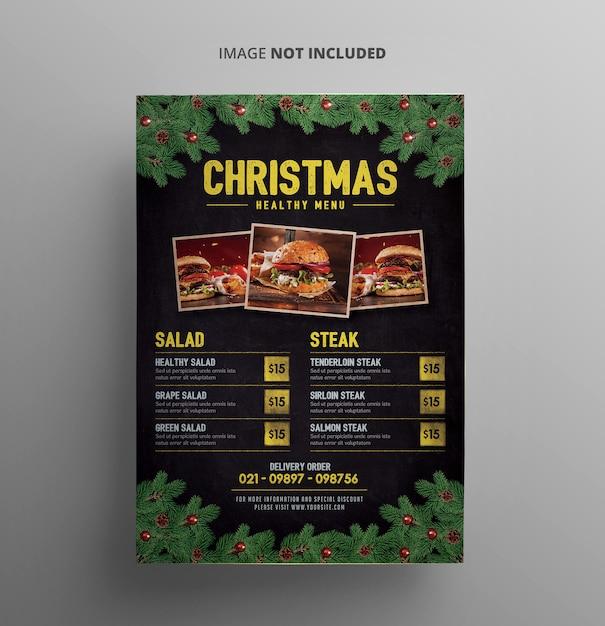 クリスマスメニューチラシテンプレート Premium Psd