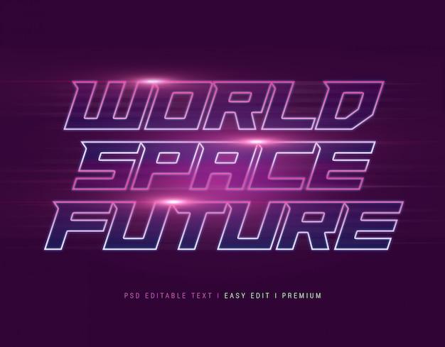 ワールドスペースフューチャーテキストエフェクトモックアップ Premium Psd