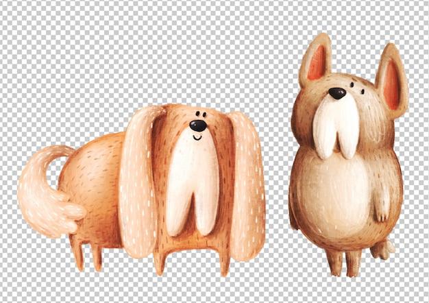 かわいい手描きの犬 Premium Psd
