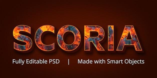 スコリアテキストスタイルエフェクト Premium Psd