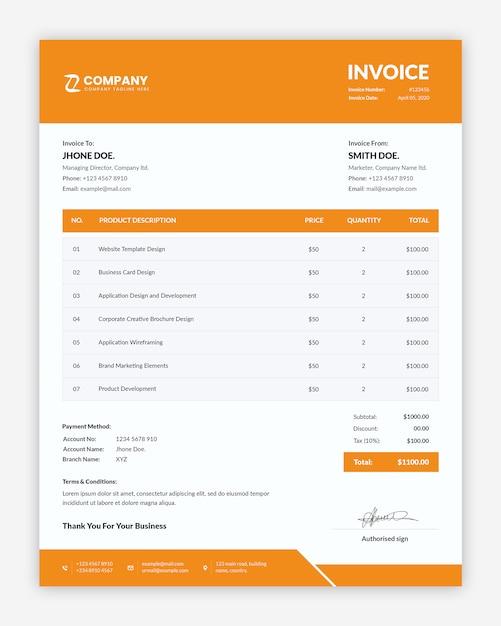 Простой профессиональный шаблон бизнес-счета Premium Psd