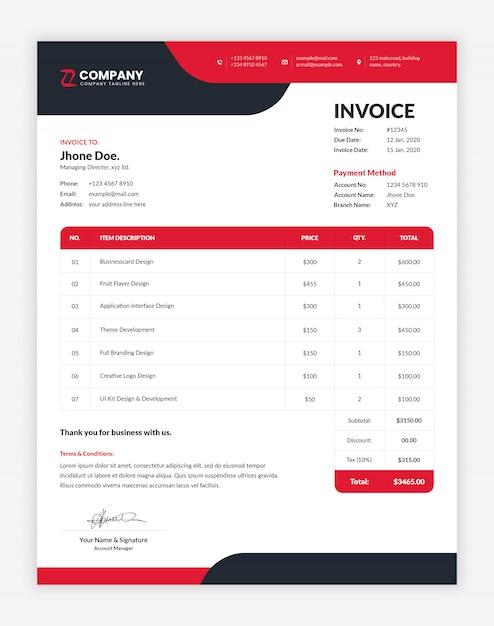 Современный красный и черный корпоративный, профессиональный шаблон бизнес-счета Premium Psd