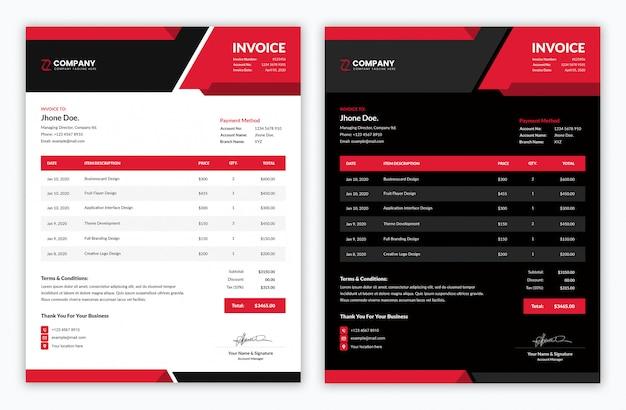 Минимальный корпоративный шаблон счета красного и темного цвета Premium Psd