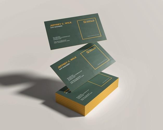 フローティング名刺付きスタック名刺モックアップ Premium Psd