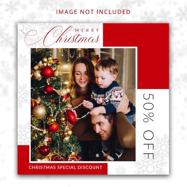 ソーシャルメディアのクリスマス割引オファーテンプレート Premium Psd