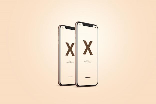 Золотой мобильный телефон Premium Psd