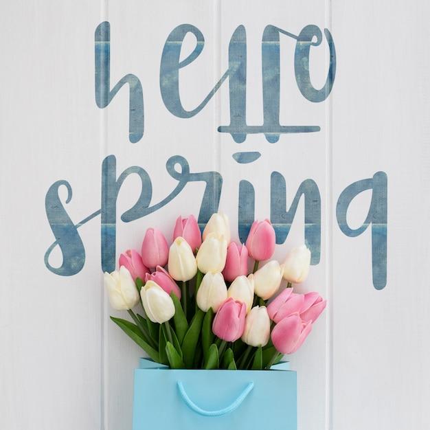 ウッドテクスチャ春のコンセプトにかわいいメッセージ 無料 Psd