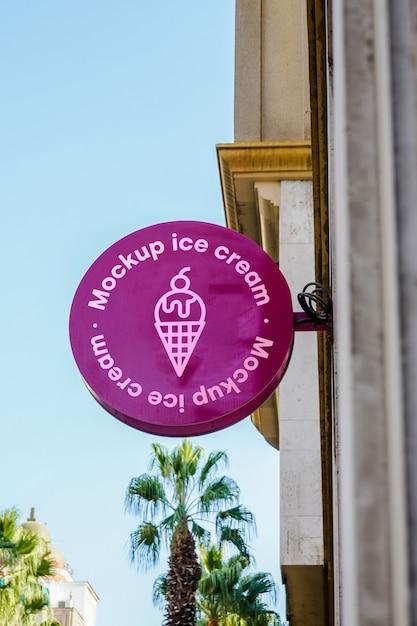 モックアップサインアイスクリームシティ 無料 Psd