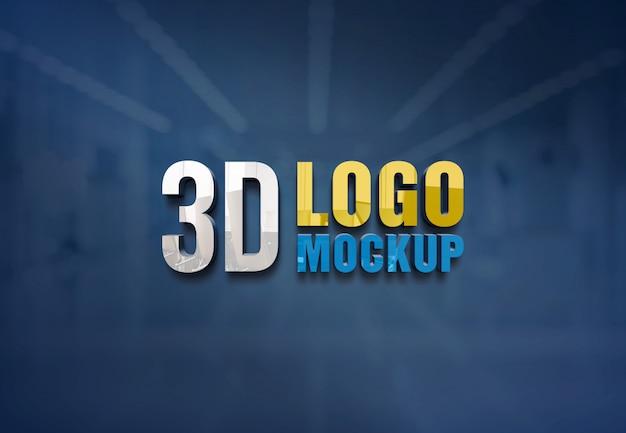 壁ロゴモックアップ、無料のオフィスガラス壁サインロゴモックアップ、オフィスガラスルームのロゴモックアップ Premium Psd