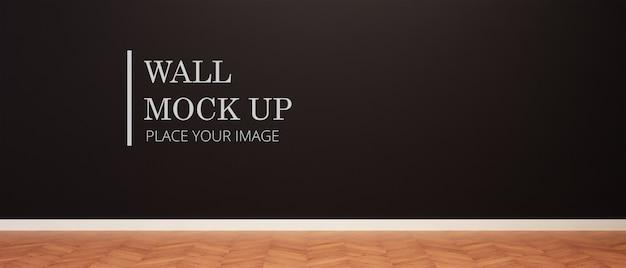 Черная роспись пустой комнаты стены макет с деревянным полом Premium Psd