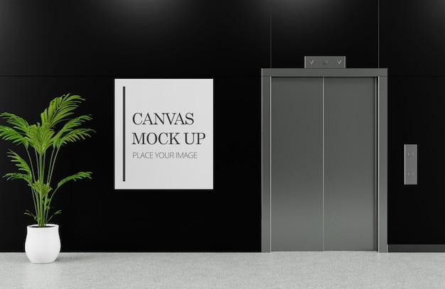 Холст рама макет рядом с лифтом Premium Psd