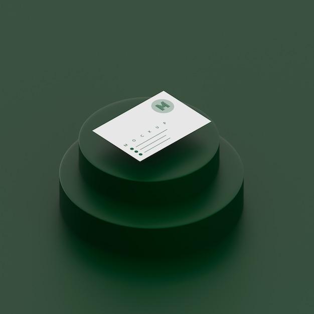 名刺のモックアップと単色の緑のシーン 無料 Psd