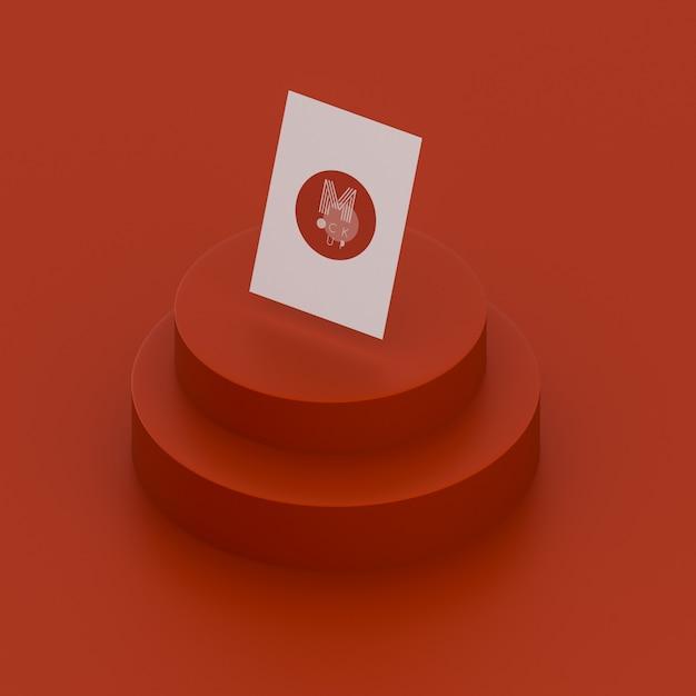 名刺のモックアップと単色の赤いシーン 無料 Psd
